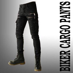 バイカーパンツ テイスト カーゴパンツ コーティング スキニー ファッション ブラック
