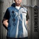 ボウリングシャツ(ボーリングシャツ)開襟シャツ 半袖 オープンカラー メンズ rumble59 ロカビリーオープンネック レトロなロックシャツ WAD ストリート (ロック パンクファッション フェス オープンカラーシャツ 着こなし)ロック系 パンク系