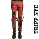 ボンテージパンツ TRIPP NYC(トリップニューヨーク)zipデザイン ボンデージパンツ レッド チェック スキニーパンツ カーゴパンツ 赤 チェック スキニー パンク ロック ファッション ロックファッション メンズ ユニセックス tripp nyc ヘビメタ 冬コーデ
