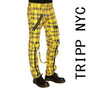 ボンテージパンツ TRIPP NYC(トリップニューヨーク)ZIP イエロー チェック スキニー ボンデージパンツ スキニーパンツ パンク ロック ..