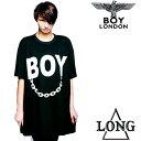 BOYLONDON(ボーイロンドン)LONG CLOTHING(ロングクロージング)コラボ ロゴ+チェーンTシャツ レディースtシャツ ロックファッション パンクファッション ロックテイスト パンクテイスト ユニセックス