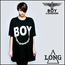 BOYLONDON(ボーイロンドン)LONG CLOTHING(ロングクロージング)コラボ ロゴ+チェーンTシャツ レディースtシャツ ロックファッション,パンクファッション,ロックテイスト,パンクテイスト,ユニセックス