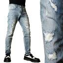 クラッシュ ジーンズ スキニー メンズ ダメージジーンズ アイスブルー リペア加工 スーパーストレッチ パンツ メンズ スキニーパンツ スリムパンツ ロック パンクファッション ストリート モード系 v系 ボトムス メンズ スキニージーンズ バイカーパンツ ジーパン 人気