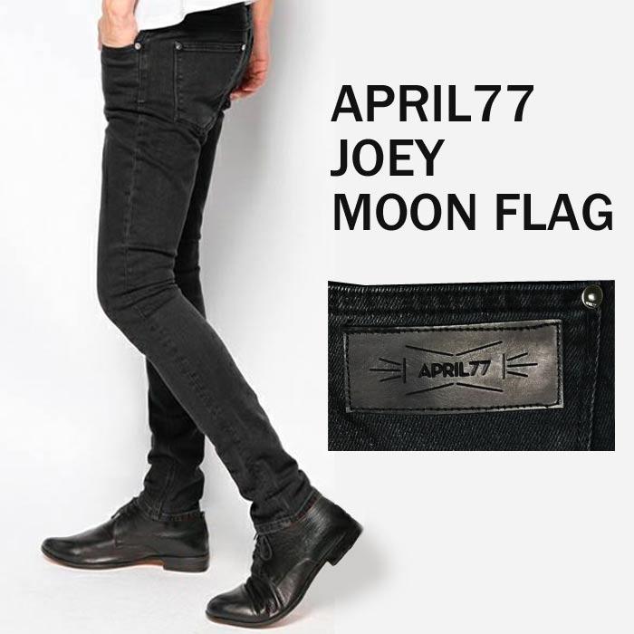 APRIL77(エイプリル77)Joey Moon Flag ジーパン ジーンズ スキニーパンツ デニム スキニー ブラック パンツ ブラックジーンズ メンズ 黒 スキニージーンズ 春物 パンク ロック ファッション メンズスキニージーンズ 春服 スキニーデニム スリム ヴィンテージ ロング