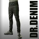 DR.DENIM(ドクターデニム)マットなブラック(艶消し)のコーティング加工 ヒップハング(サルエル スキニー サルエルパンツ スキニーデニム スキニージーンズ メンズ スキニーパンツ 黒 ロック パンク ファッション スリム デニム ジーンズ パンツ バイカーズ バイカーパンツ)