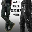 WAD ブラック レザーパンツ バイカー パンツ スキニー/ブラック レザー パンツ 革パンツ (パンク ロック ファッション スキニー パンツ スキニー メンズ ロックファッション バイカーパンツ バイカースキニー ヘビメタ パンツ ライダー スリム パンツ