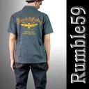 ボウリングシャツ(ボーリングシャツ)開襟シャツ 半袖 メンズ rumble59 ロカビリーオープンネック レトロなロックシャツ グレー WAD 服 ストリート (ロック パンクファッション フェス オープンカラーシャツ 着こなし)