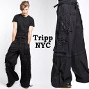 ボンテージパンツ ワイドパンツtripp nyc(トリップニューヨーク)パンク テイストな超ワイド ボンテージ 手錠 チェーン付属 パンツ ハーフパンツにも!パラシュートパンツ ダンス パンツ ハーフパンツ パンク ロック ファッション ヘビメタ ロック系 パンク系