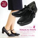【送料無料】MAGICAL STEPS パンプス ストラップ 太ヒール 歩きやすい 幅広 4E 外反母趾 痛くない 美脚...