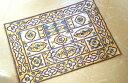 【タイ輸入】ラグマット ラグ カーペット♪60×90センチ シルク 花柄 ブルー オール刺繍☆ハンドメイド♪ヨーロッパ風 壁掛けにも!【現品限り】