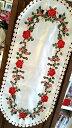 【クロアチア輸入】テーブルランナー テーブルクロス ローズ 薔薇  花柄 刺繍 レース シルク レッド ホワイト テーブルセンター