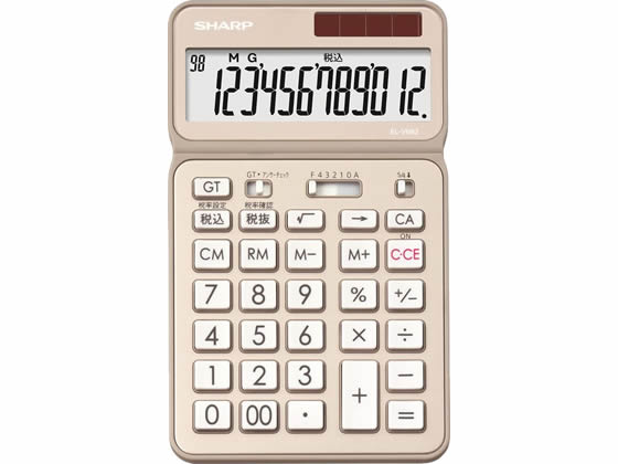シャープ/ナイスサイズタイプ電卓12桁 シャンパンゴールド/EL-VN82-NX