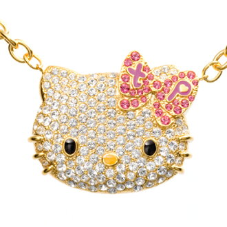 Hello Kitty necklace bling Swarovski celebrity! tinkpink ラージフェイスファインストーンペンダント Hello Kitty Hello Kitty Kitty-Chan accessories toy Japan made