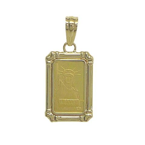 【送料無料】24金 インゴット INGOT リバティコイン K24(純金) 2g リバティコイン 自由の女神 K18枠付きペンダントトップ