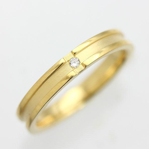 K18YG ダイヤモンド クロスリング メンズリング【結婚指輪】 【送料/刻印無料】ダイヤモンドクロスリングのオリジナルリング