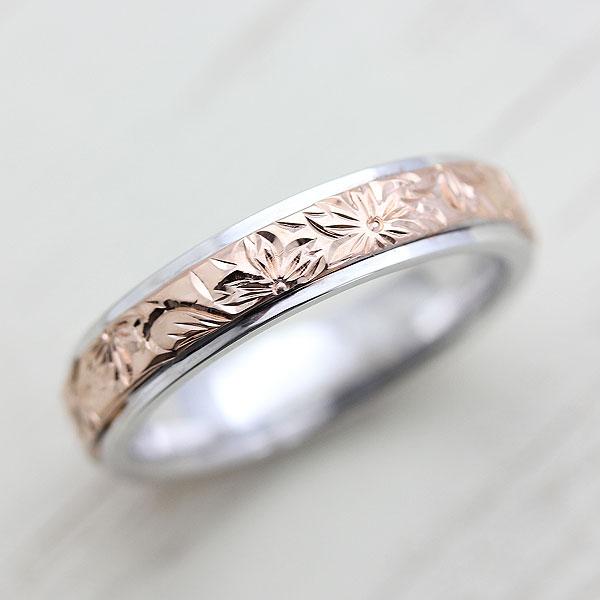 PT900(Pt90%)/K18PG 桜 リング 手彫り彫刻 マリッジコンビリング レディースリング【結婚指輪】