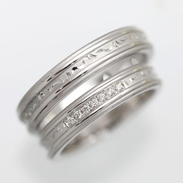 K10WG ダイヤモンド 手彫り彫刻リング ホワイトゴールド ペアリング【結婚指輪】 【送料/刻印無料】熟練した職人の手彫り彫刻 K10ペアリング【軽い】