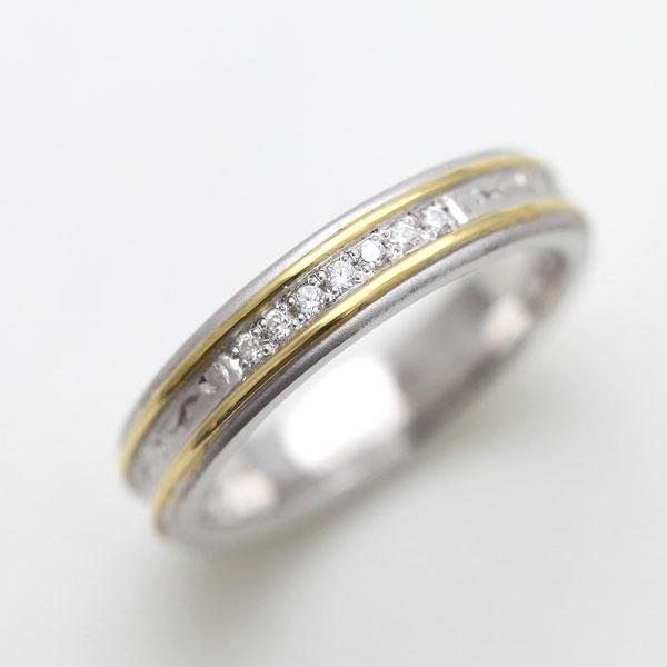 PT100(Pt10%)/K18YG ダイヤモンド 手彫り彫刻リング コンビリング レディースリング【結婚指輪】 【送料/刻印無料】ダイヤモンド0.04カラット 手彫りの彫刻コンビリング