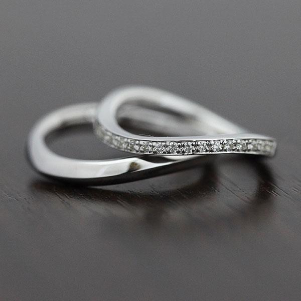 K18WG ダイヤモンド 0.18ct ホワイトゴールド マリッジリング ハーフエタニティ ペアリング【結婚指輪】 【送料/刻印無料】ダイヤモンド0.18カラットの流れる輝き♪ K18ペアリング