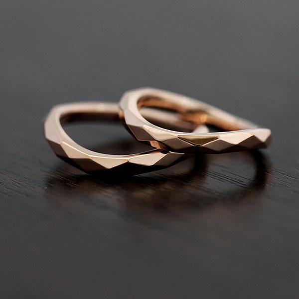 K18PG マリッジリング ピンクゴールド ミラーカット ペアリング【結婚指輪】 【送料/刻印無料】キラキラ上品な輝き♪ミラーカットペアリング