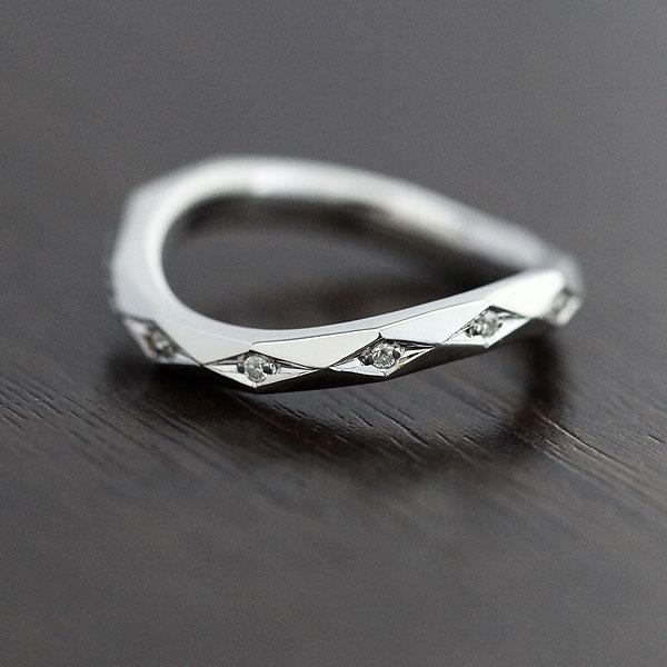 K18WG  ミラーカット ダイヤモンド 0.04ct ホワイトゴールド レディースリング【結婚指輪】 【送料/刻印無料】キラキラ上品な輝き♪ミラーカット ダイヤモンド 0.04カラット リングあおい