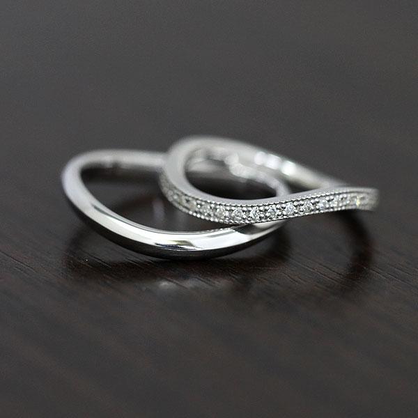 K18WG ハーフエタニティ S字 ミル打ちリング ダイヤモンド 0.11ct ホワイトゴールド マリッジリング ペアリング【結婚指輪】 【送料/刻印無料】人気のハーフエタニティリング♪0.11カラット S字に輝くダイヤモンドペアリング