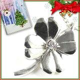 クリスマス限定Xmasカード付( 4月誕生石 ) シルバー ダイヤモンドペンダントネックレス(クローバーモチーフ) 【楽ギフ包装】