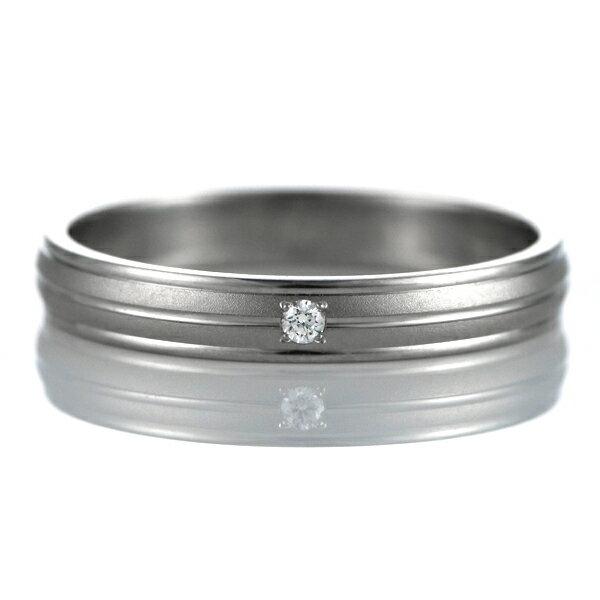 ダイヤモンド 結婚指輪 マリッジリング ペアリング つや消し ストレート パラジウム【楽ギフ_包装】