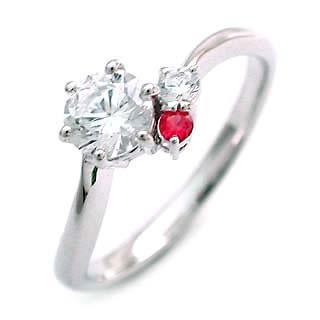 式樣張貼 (七月誕生石) 紅寶石 Pt 鑽石戒指 (訂婚戒指,訂婚戒指)