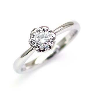 フラワー AneCan掲載 (Brand アニーベル) Pt ダイヤモンドデザインリング(婚約指輪・エンゲージリング) ソリティア 一粒 【楽ギフ_包装】【DEAL】
