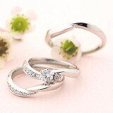 【今なら Brand Jewelry fresco ) プラチナ ダイヤモンドリング(婚約指輪・結婚指輪)エンゲージ マリッジ セット 3本【楽ギフ包装】
