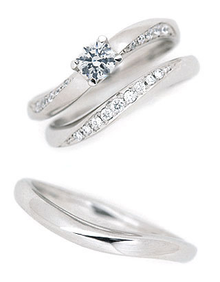 ( Brand Jewelry fresco ) プラチナ ダイヤモンドリング(婚約指輪・結婚指輪)エンゲージ マリッジ セット 3本【楽ギフ_包装】