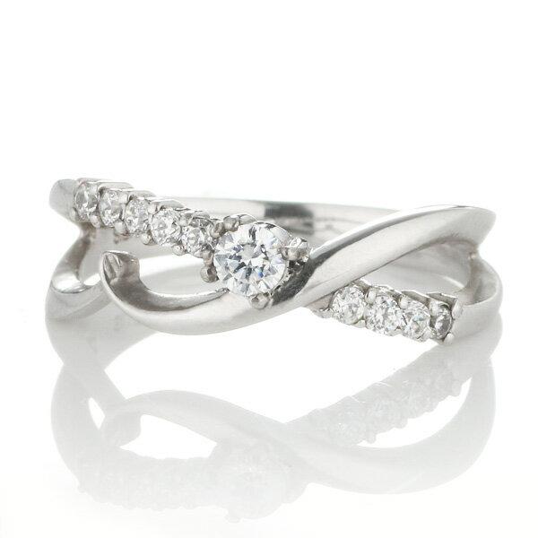 ダイヤモンド 4月誕生石 K18ホワイトゴールド ダイヤモンド リング【楽ギフ_包装】
