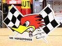 クレイスミス ステッカー 車 アメリカン キャラクター おしゃれ バイク ヘルメット かっこいい ウッドペッカー 鳥 ホットロッド アメ車 カーステッカー Clay Smith チェッカーフラッグ 左向き 【メール便OK】_SC-CSD020L-MON