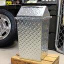 ゴミ箱 おしゃれ スイング式 鋼板 スチール チェッカープレート アメリカン ガレージ_DB-8740-HYS