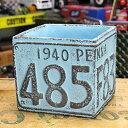 ショッピングプランター プランター おしゃれ アンティーク 植木鉢 ナンバープレート ブルー サイズS アメリカ アメリカン雑貨_ZZ-011BL-FEE