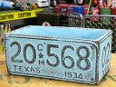 プランター おしゃれ 長方形 アンティーク 植木鉢 ナンバープレート ブルー サイズL アメリカ アメリカン雑貨_ZZ-012BL-FEE
