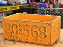 ショッピングプランター プランター おしゃれ 長方形 アンティーク 植木鉢 ナンバープレート イエロー サイズL アメリカ アメリカン雑貨_ZZ-012YE-FEE