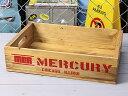 ショッピングリサイクル マーキュリー 木箱 ウッドボックス アンティーク調 収納ボックス リサイクルウッド MERCURY キャンプ アウトドア アメリカ アメリカン雑貨 レッド_MC-MEREWORD-MCR