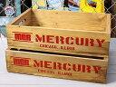 ショッピングリサイクル マーキュリー 木箱 ウッドボックス アンティーク調 収納ボックス リサイクルウッド MERCURY キャンプ アウトドア アメリカ アメリカン雑貨 レッド 2個セット_MC-MEREWORD2P-MCR