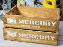 ショッピングリサイクル マーキュリー 木箱 ウッドボックス アンティーク調 収納ボックス リサイクルウッド MERCURY キャンプ アウトドア アメリカ アメリカン雑貨 ホワイト 2個セット_MC-MEREWOWH2P-MCR