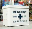 マーキュリー エマージェンシーボックス 救急箱 おしゃれ アンティーク レトロ スチール製 小物入れ ファーマシーボックス アメリカ アメリカン雑貨 ホワイト_MC-MEBUEBWH-MCR
