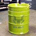 ミリタリー 灰皿 おしゃれ 陶器製 面白い ドラム缶 US ARMY アメリカ陸軍 アメリカ アメリカン雑貨_TW-027-HYS