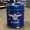 ミリタリー 灰皿 おしゃれ 陶器製 面白い ドラム缶 US NAVY アメリカ海軍 アメリカ アメリカン雑貨_TW-028-HYS