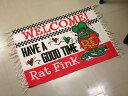 ショッピング玄関マット ラットフィンク ラグマット 洗える おしゃれ 玄関マット 室内 屋内 フロアーマット バスマット 綿 RAT FINK WELCOME! 【メール便OK】_FM-RAF424-MON