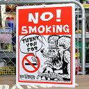 ラットフィンク サインプレート 看板 サインボード 標識 禁煙 RAT FINK NO SMOKING アメリカ アメリカン雑貨_SP-RAF228-MON