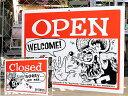 ラットフィンク サインプレート 看板 サインボード 標識 RAT FINK OPEN CLOSED ヨコ アメリカ アメリカン雑貨_SP-RAF231-MON