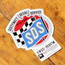 ステッカー アメリカン 世田谷ベース系 シックスティーワット チェッカーフラッグ サイズM カーステッカー 【メール便OK】_SC-SWDS001M-SXW