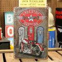 サインプレート アンティーク 看板 サインボード バイク ガソリンスタンド LAST STOP GASOLINE サイズS アメリカ アメリカン雑貨 【メール便OK】_SP-013-FEE