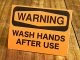 サイン&ラベルミニステッカー(シール、デカール)/MD-024/WARNING/「警告、使用後は手を洗いなさい」(05P01Mar15)_SC-MD024-SXW